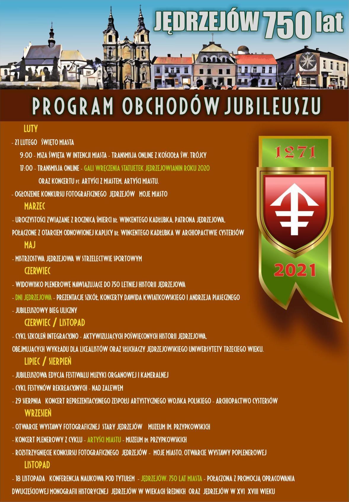 750 rocznica nadania praw miejskich Jędrzejowowi. Program obchodów jubileuszu.